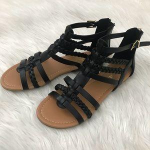 Shoes - Black Braided Gladiator sandals